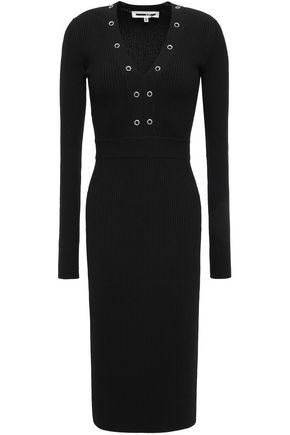 McQ Alexander McQueen Eyelet-embellished stretch-knit dress