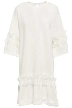 McQ Alexander McQueen Ruffled lace-trimmed French cotton-terry mini dress