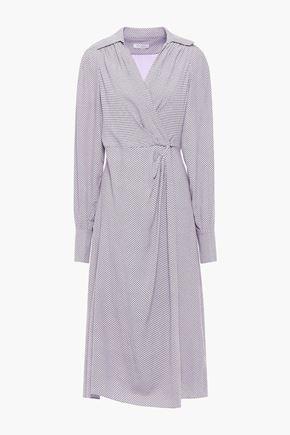 EQUIPMENT Gilliane pleated checked crepe wrap dress