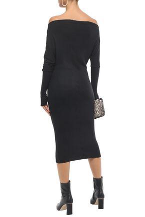 ENZA COSTA Off-the-shoulder ribbed modal-blend jersey midi dress