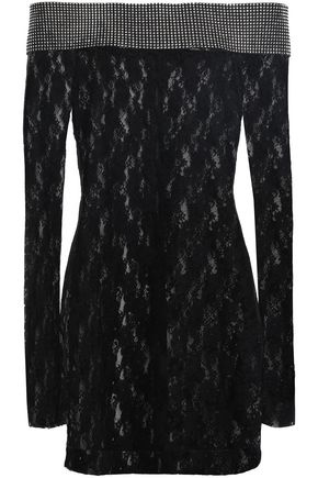 CHRISTOPHER KANE Off-the-shoulder crystal-embellished lace mini dress