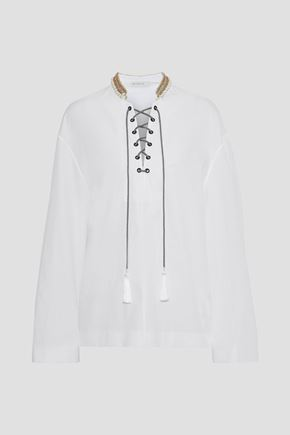 ETRO Lace-up embellished cotton-poplin tunic