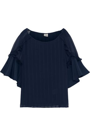 CHARLI Georgette-paneled ruffled jacquard blouse