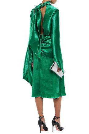 CHRISTOPHER KANE Open-back draped satin-crepe midi dress