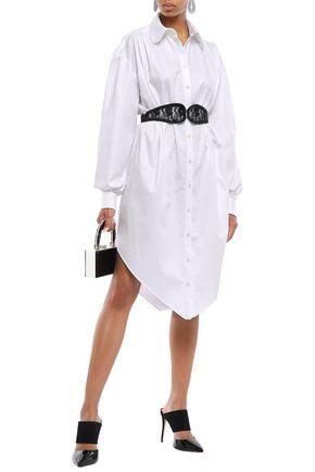 CHRISTOPHER KANE Lace-embellished belted cotton-poplin shirt dress