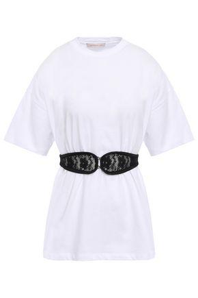 CHRISTOPHER KANE Lace-embellished belted cotton-jersey T-shirt