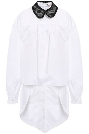 CHRISTOPHER KANE Asymmetric lace-trimmed cotton-poplin shirt