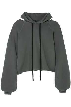 BEN TAVERNITI™ UNRAVEL PROJECT Distressed French cotton and cashmere-blend terry hoodie