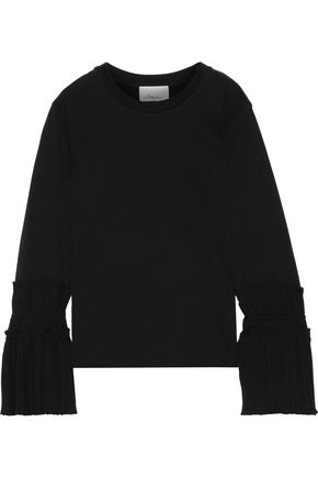 3.1 PHILLIP LIM Pleated crepe-paneled cotton-jersey top