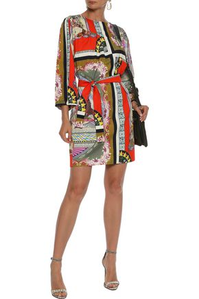 ETRO Belted printed cotton mini dress