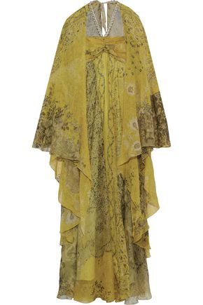 ETRO Cape-effect embellished metallic floral-print silk-chiffon gown