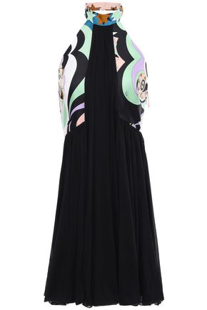 EMILIO PUCCI Printed silk-twill and jersey halterneck mini dress