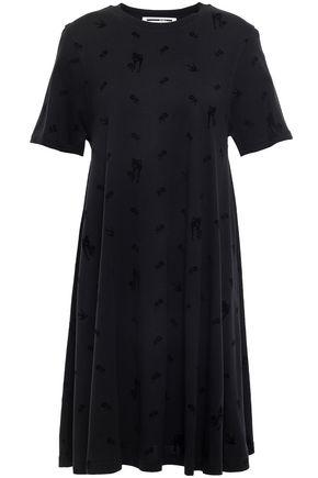 McQ Alexander McQueen Flocked cotton and modal-blend mini dress