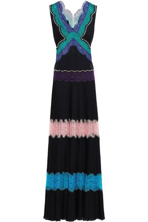 Lace Paneled Studded Silk Crepe De Chine Gown by Emilio Pucci