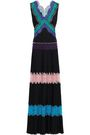 EMILIO PUCCI Lace-paneled studded silk crepe de chine gown