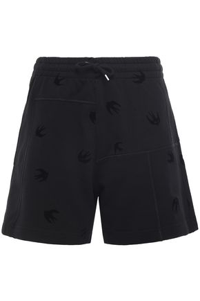 McQ Alexander McQueen Flocked French cotton-terry shorts