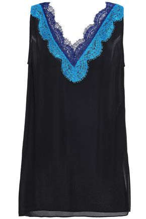 EMILIO PUCCI Lace-trimmed silk-georgette top