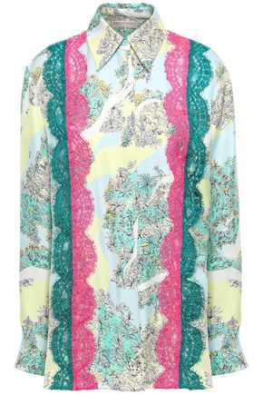 EMILIO PUCCI Lace-trimmed floral-print silk-twill shirt