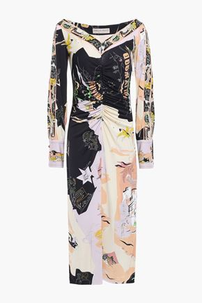 EMILIO PUCCI Ruched printed jersey midi dress
