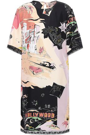 EMILIO PUCCI Lace-trimmed printed silk-twill mini dress