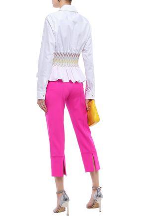 EMILIO PUCCI Smocked cotton-poplin peplum shirt