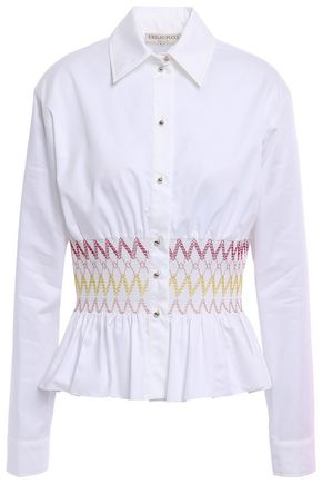 EMILIO PUCCI Smocked cotton-poplin peplum shirt