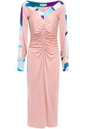 EMILIO PUCCI Ruched printed silk-jersey midi dress