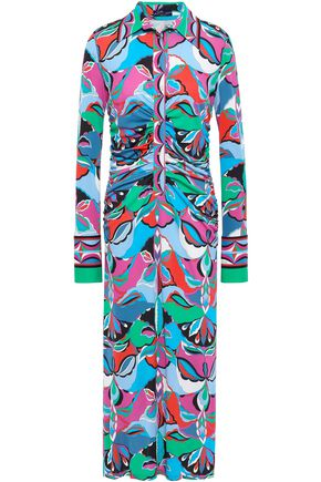 EMILIO PUCCI Ruched printed jersey midi shirt dress