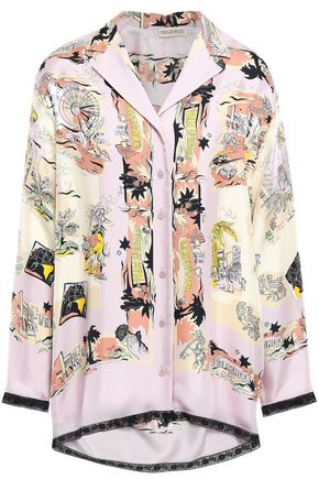 EMILIO PUCCI Lace-trimmed printed silk-twill shirt