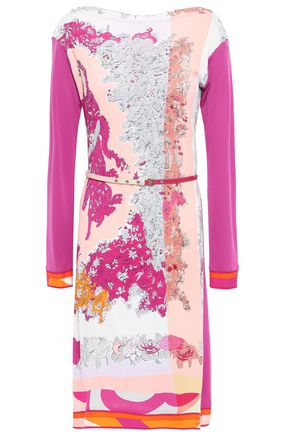EMILIO PUCCI Belted floral-print stretch-jersey dress