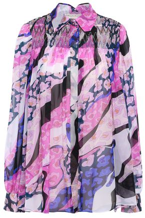 EMILIO PUCCI Shirred printed silk-chiffon shirt