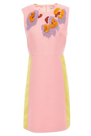 EMILIO PUCCI Satin-paneled embellished crepe mini dress