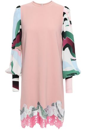 EMILIO PUCCI Printed crepe de chine-paneled embellished silk-blend mini dress