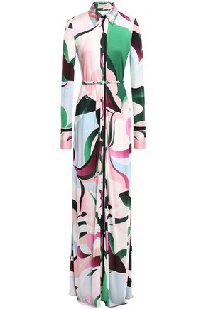 EMILIO PUCCI Belted sequin-embellished printed jersey maxi dress