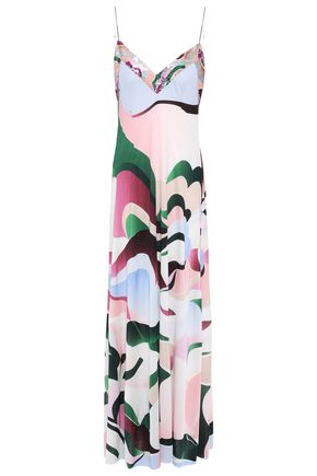 EMILIO PUCCI Open-back sequin-embellished printed silk-jersey gown