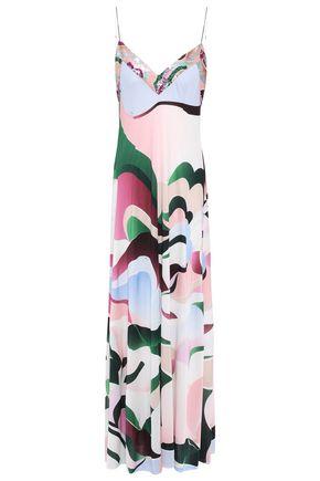 EMILIO PUCCI オープンバック スパンコール付き プリントシルクジャージー ロングドレス