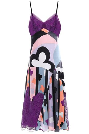 EMILIO PUCCI Lace-paneled printed silk-blend satin dress