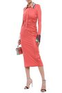 EMILIO PUCCI Sequin-embellished ruched silk-jersey midi shirt dress