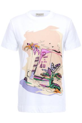 EMILIO PUCCI Embellished printed cotton-jersey T-shirt
