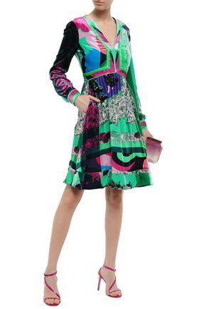 EMILIO PUCCI Gathered printed velvet dress