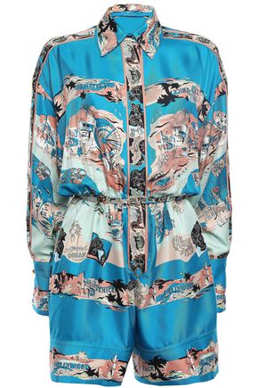 EMILIO PUCCI Belted printed silk-twill playsuit