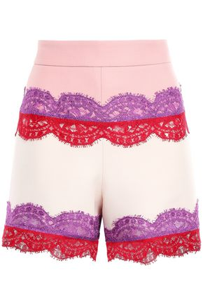 EMILIO PUCCI Lace-trimmed wool and silk-blend shorts