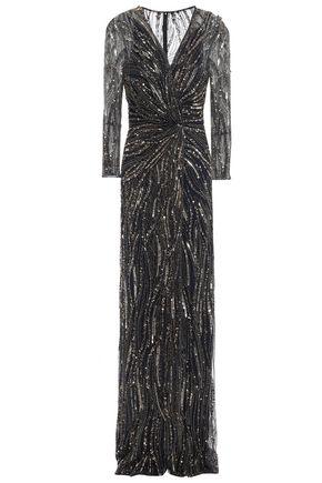 JENNY PACKHAM ツイスト入り 装飾付き チュール ロングドレス