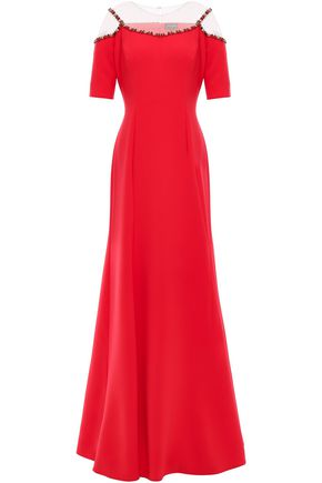 JENNY PACKHAM Cold-shoulder tulle-paneled crepe gown