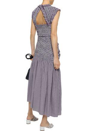 3.1 PHILLIP LIM Asymmetric shirred cotton-blend poplin midi dress