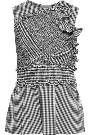 3.1 PHILLIP LIM Shirred ruffled cotton-blend poplin top