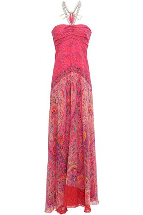 b8b762d37 ETRO Draped embellished printed silk-georgette gown