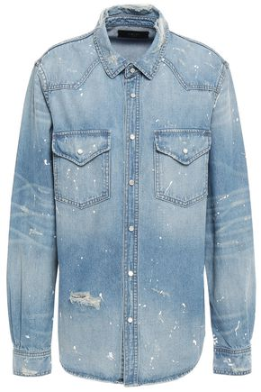 AMIRI Distressed painted denim shirt