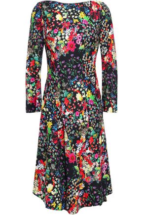ETRO Asymmetric floral-print crepe dress