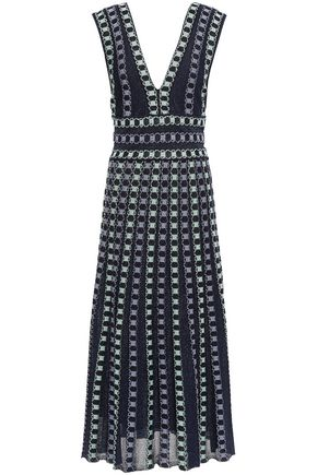 M MISSONI Cutout metallic jacquard-knit midi dress